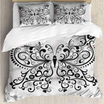 Butterfly White Paisley Printed Bedding Set Bedroom Decor