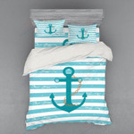 Anchor Chain Blue Stripes Printed Bedding Set Bedroom Decor