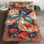 Beetle Red Rose Printed Bedding Set Bedroom Decor