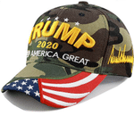 Trump 2020 With American Flag  Stitched Signature Camo Election 2020 Hat Baseball Cap