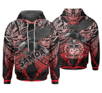 American Red Samoa Polynesian Pattern And Eagle 3D Hoodie