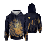 A Fox With A Wreath Of Coniferous Forest Plants In Vintage Style 3D Hoodie
