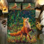 Fox Fire With Autumn Leaves Bedding Set Bedroom Decor
