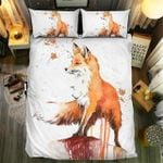 Fox With Autumn Leaves Painting Bedding Set Bedroom Decor