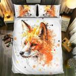 Fox Head Watercolor Bedding Set Bedroom Decor