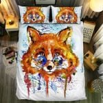 Fox Wearing Glasses Watercolor Bedding Set Bedroom Decor