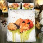 Fox Lying Watercolor Bedding Set Bedroom Decor