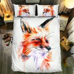 Fox Head Watercolor Unique Painting Bedding Set Bedroom Decor