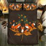 Fox Family In Autumn Leaf Bedding Set Bedroom Decor