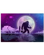 Magical Design Bigfoot And Night Fishing Great Gift For Bigfoot Hunters Horizontal Poster