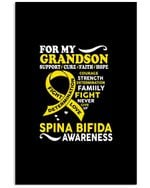 For My Grandson Support Cure Faith Hope Spina Bifida Awareness Vertical Poster