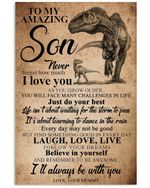 T-rex Love Message Of Mummy To Son Custom Design For Family Vertical Poster