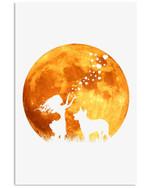 Heeler And A Girl In Full Moon Custom Design Vertical Poster