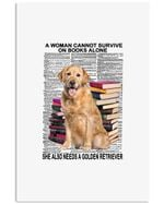 A Woman Cannot Survive Books Alone She Also Needs A Golden Retriever Trending Vertical Poster