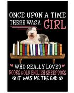 Old English Sheepdogs And Books Custom Design Gifts For Dog Lovers Vertical Poster