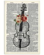 Cello And Flower Custom Design Gift For Cello Players Vertical Poster