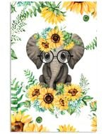 Elephant Sun Flowers Cute Gifts Vertical Poster