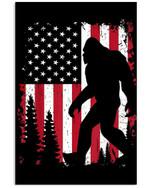 Bigfoot American Usa Flag Vertical Poster