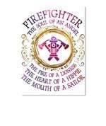 Firefighter The Soul Of An Angel The Fire Of A Lioness Peel & Stick Poster