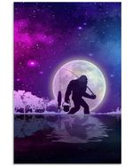 Bigfoot And Night Fishing Great Gift For Friends Who Loves Bigfoot Vertical Poster
