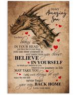 Mom To Son Always Believe In Yourself Custom Design Vertical Poster
