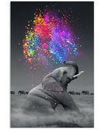 Elephant With Color Funny Gift For Elephant Lovers Vertical Poster