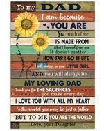 I Love You With My Heart Lovely Message From Daughter Gifts For Dad Vertical Poster