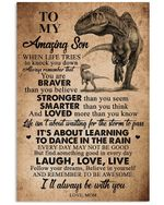 T-rex Mom Gifts For Son When Life Tries To Know You Down Love Messages Vertical Poster