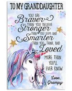 Unicorn Lovely Message Gifts From Grampy For Granddaughers Vertical Poster