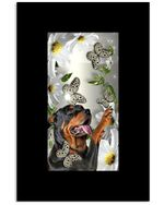 Rottweiler With Daisy And Butterfly Funny Gift For Dog Lovers Vertical Poster