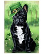 French Bulldog Puppy Shamrock For St.patrick's Day Vertical Poster