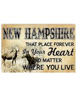 New Hamsphire That Place Forever In Your Heart Gifts For New Hamsphire Lovers Horizontal Poster