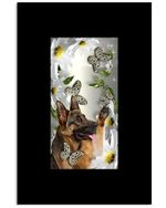 Old German Shepherd Butterfly Daisy Funny Gifts Vertical Poster