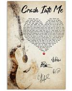 Crash Into Me Dave Matthews Band Signatures Custom Design Vertical Poster