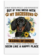 If You Mess With My Dachshund Trending For Dog Lovers Vertical Poster