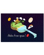 Vintage Unique Aloha From Space Gift For Ukulele Lovers Horizontal Poster
