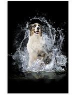 Aussie With Water Line Gift For Dog Lovers Vertical Poster