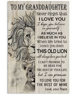Lion Lovely Message From Papa Gifts For Granddaughters Vertical Poster