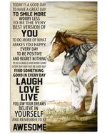 Find Something Good In Everyday Laugh Love Live Horses Design Vertical Poster