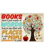 Books Filles With Places To Visit And People To Meet Horizontal Poster