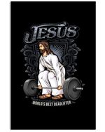 Jesus World's Best Deadlifter Gift For Weight Lifting Lovers Vertical Poster