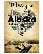 Miss You Alaska With Special Heart Design Gifts For Alaska Lovers Vertical Poster