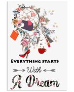 Penguin Everything Starts With A Dream Unique Custom Design Vertical Poster