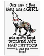 I'm A Girl Who Really Love Wolves And Had Tattoos Vertical Poster