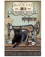 Black Cat Sewing Room Sewing Mends The Soul Trending Vertical Poster