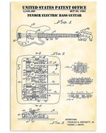 United States Patent Office Fender Electric Bass Guitar Custom Design Vertical Poster