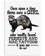 A Girl Really Loved Ferrets And Had Tattoos Custom Design Vertical Poster