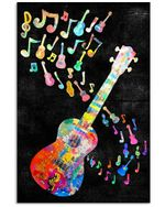 Guitar Ukulele And Colorful Music Note Trending Gift For Ukulele Players Vertical Poster
