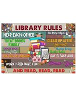 Librarian Library Rules And Read Trending For Book Lovers Horizontal Poster