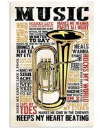 Music Makes Me See Another Point Of View Trending For Tuba Lovers Vertical Poster